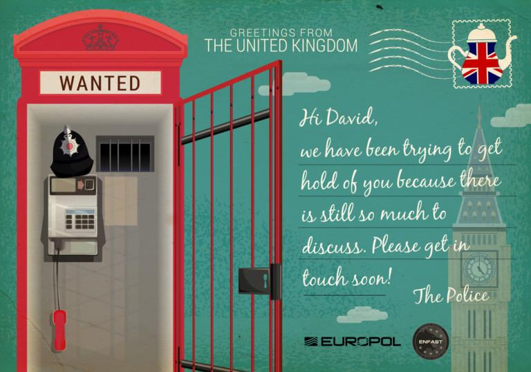 Europol-Postkarte aus England