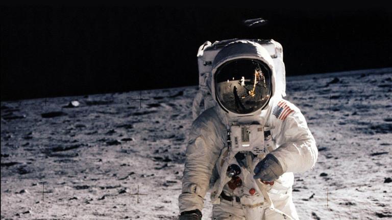 Der Astronaut Buzz Aldrin auf dem Mond.