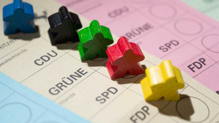 Spielfiguren auf einem Wahlschein aus Baden-Württemberg