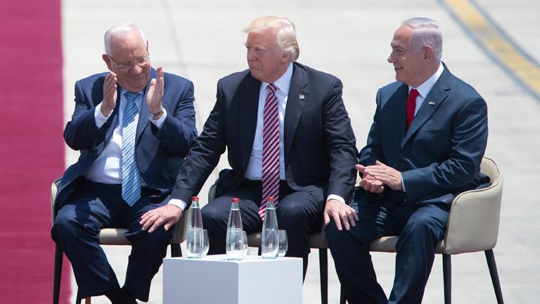 Donald Trump zusammen mit Reuven Rivlin und Benjamin Netanjahu
