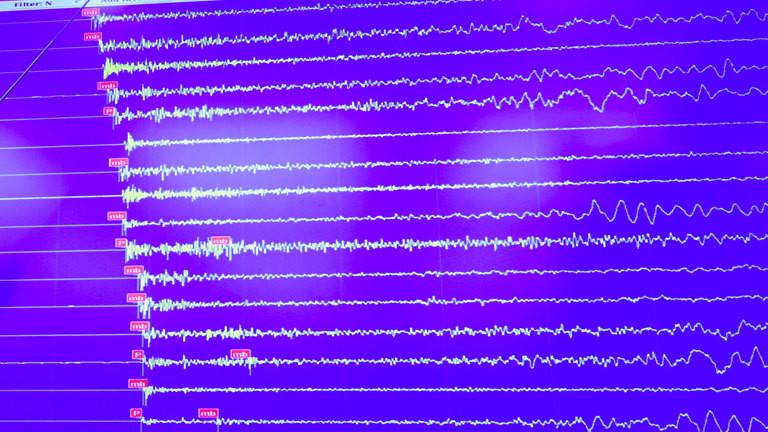Linien eines Seismographen, die das nach dem nordkoreanischen Atomtest ausgelöste Erdbeben zeigen