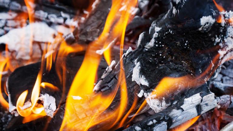 Holzscheite in Feuerglut.