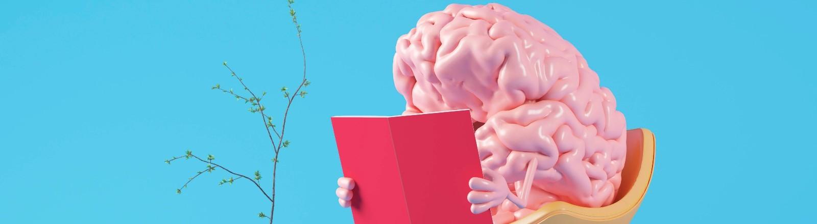 Ein Gehirn sitzt auf einem Stuhl und liest ein Buch.