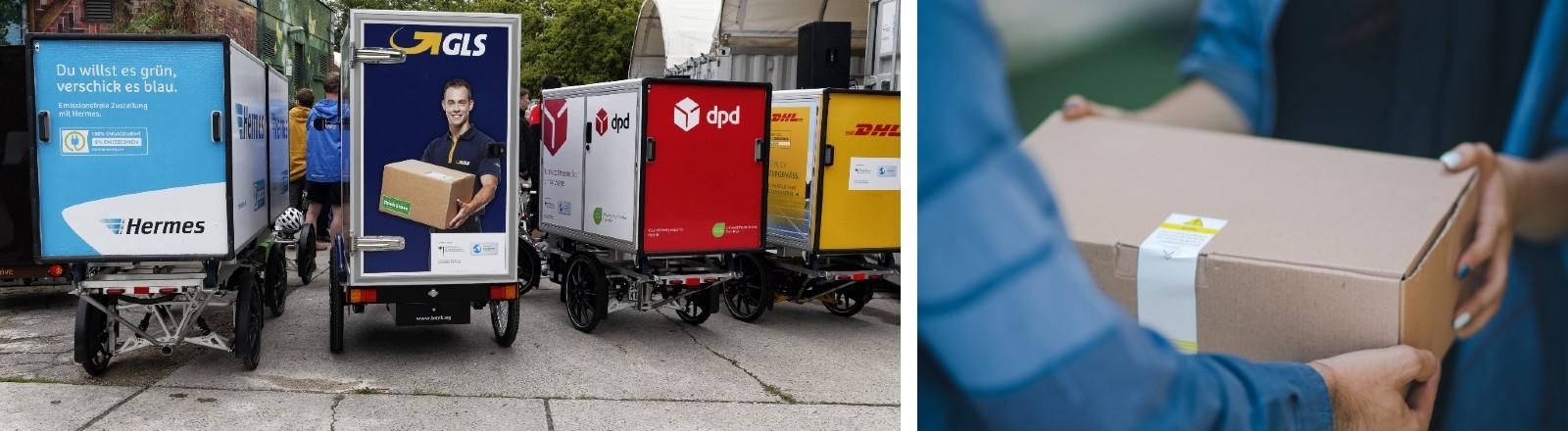 Die Lastenräder verschiedener Paketdienste stehen nebeneinander.