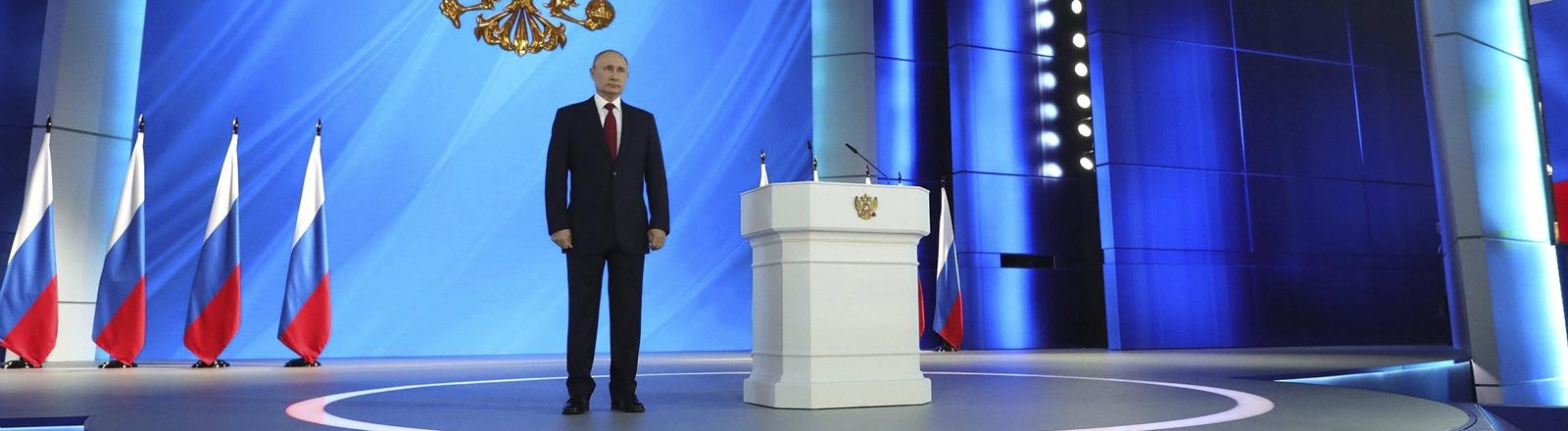 Wladimir Putin am 15. Januar 2020 vor seiner Rede an die Nation