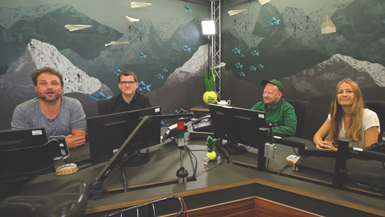 Paulus Müller, Klaas Reese, Moritz Metz und Anna Kohn im Deutschlandfunk Nova Studio