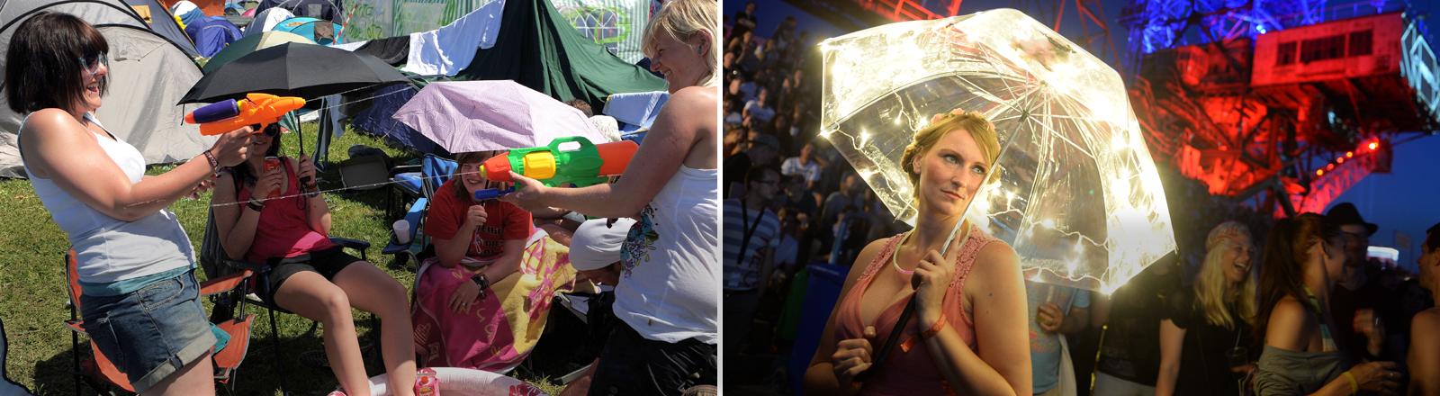 Zwei Frauen bespitzen sich bei Rock am Ring mit Wasser auf dem Campingplatz. Eine Frau wandelt mit beleuchtetem Schirm übers Melt!