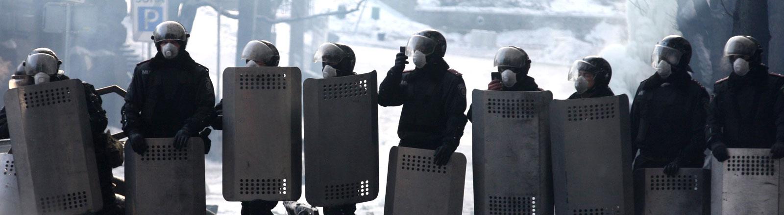 Ukrainische Polizisten stellen sich den Demonstranten in den Weg.
