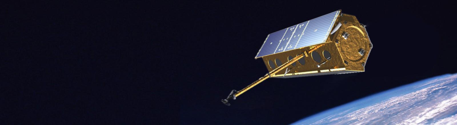 Grafische Darstellung des Satellits TerraSAR-X des Deutschen Zentrums für Luft- und Raumfahrt.