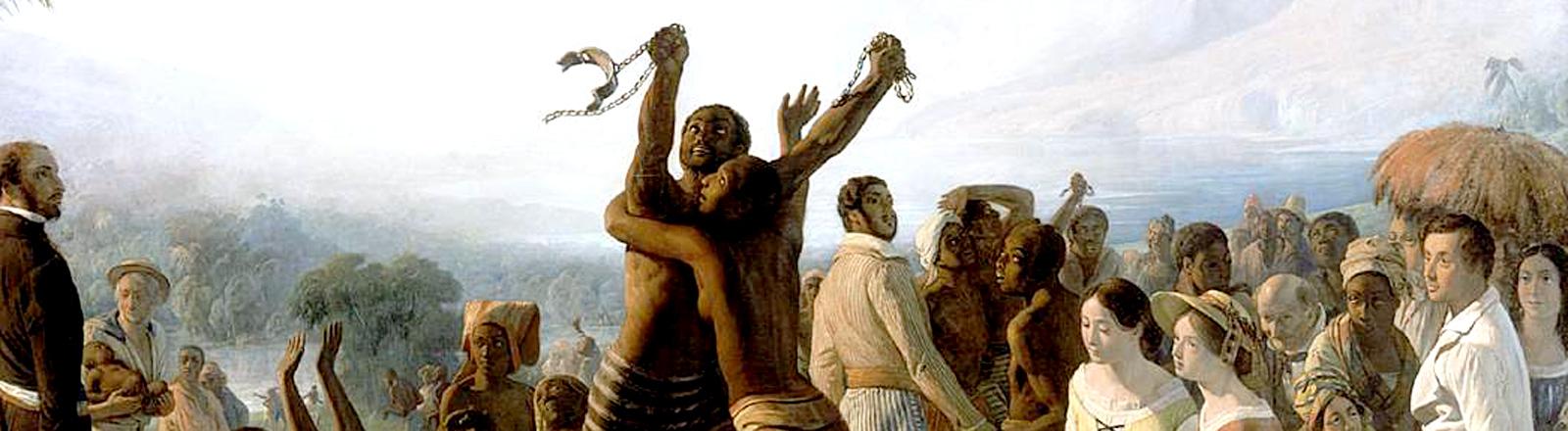Ein Gemälde, das zwei Sklaven zeigt, die von Fesseln befreit sind.