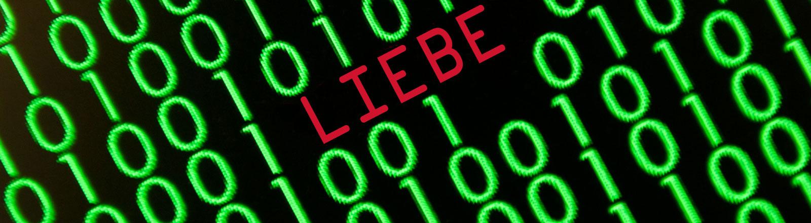 Ein Binärcode und das Wort Liebe mittendrin