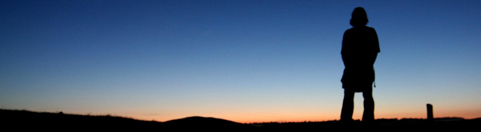 Jemand steht vor dem Sonnenuntergang und schaut in die Weite.