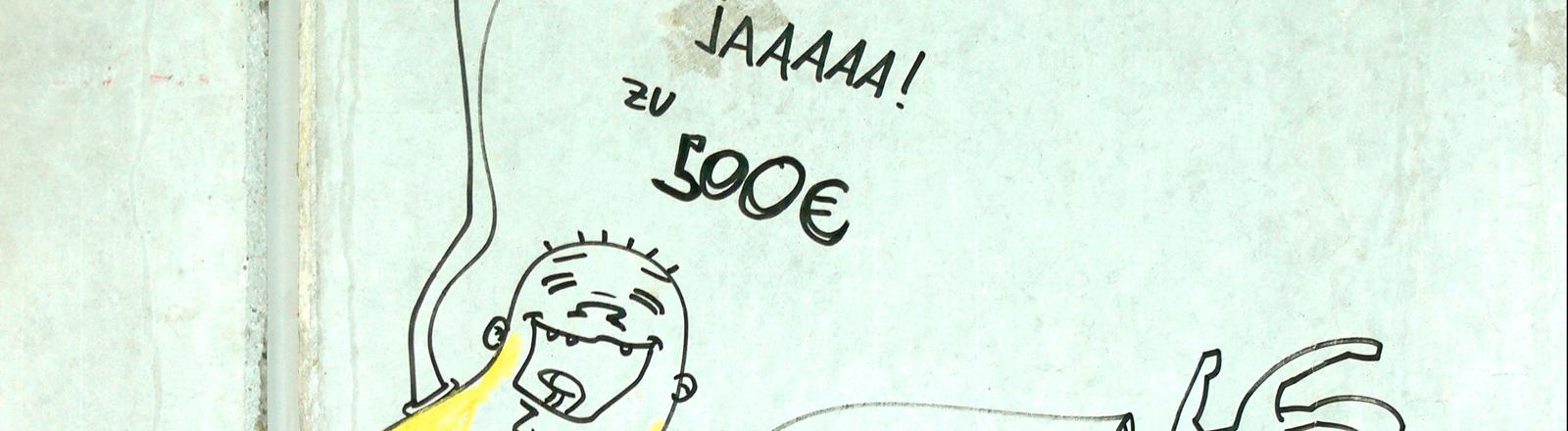Eine gezeichnete Figur, über der steht: Sag jaaa! zu 500 Euro