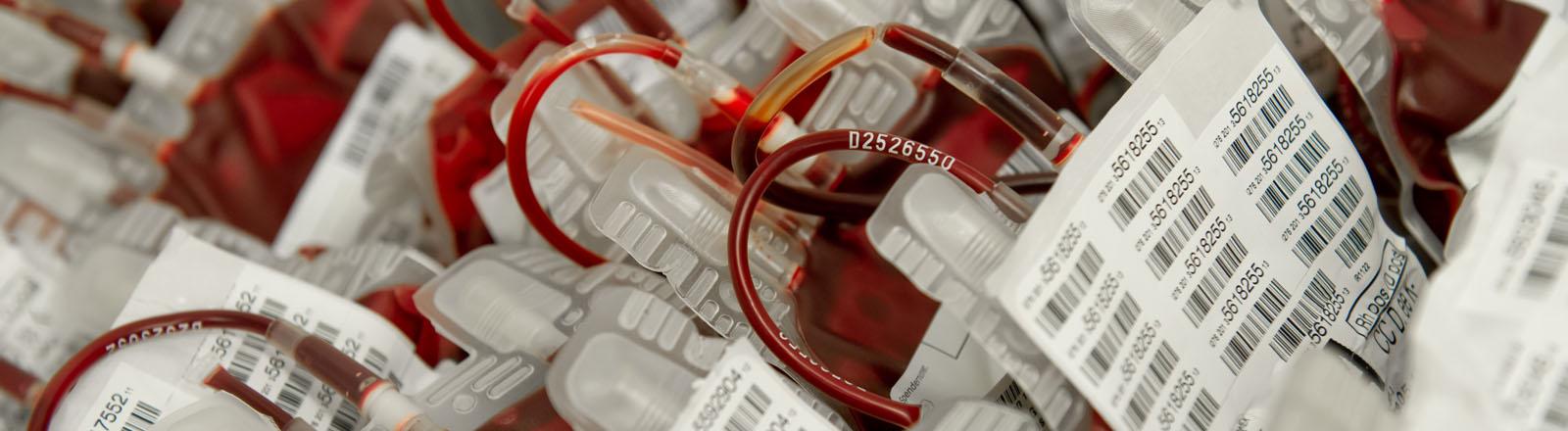 Blutkonserven bei der Blutspende.