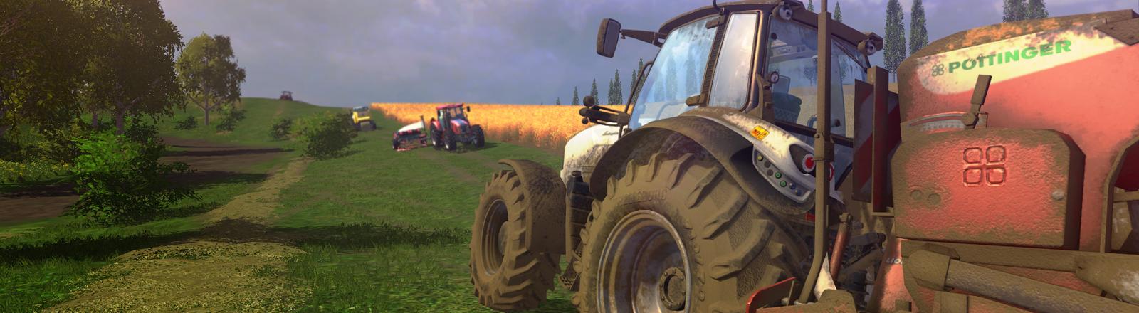 Ein Bild aus dem Landwirtschaftssimulator: Trecker auf dem Feld.