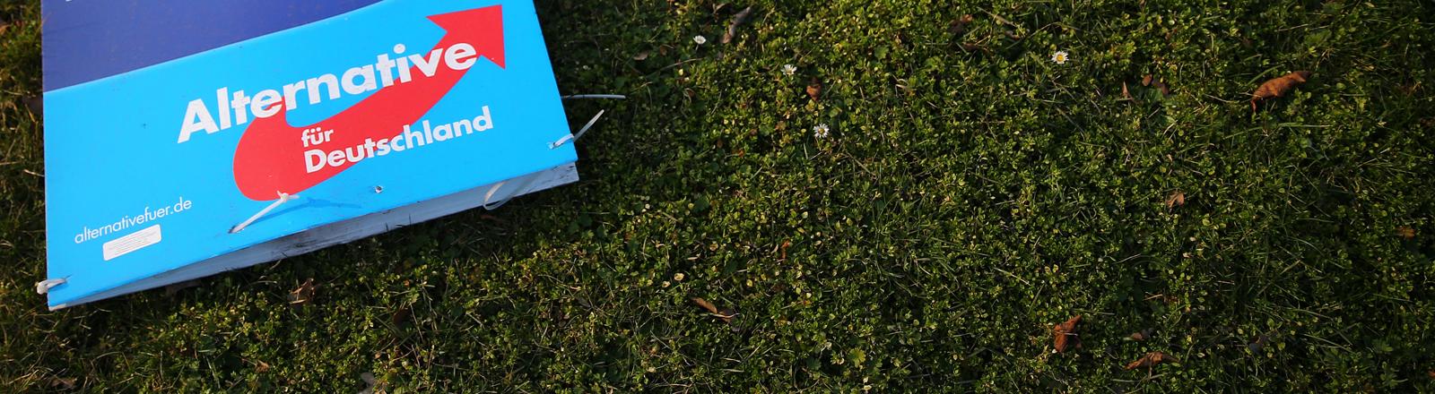 Ein abgerissenes Wahlplakat der AfD liegt am 09.03.2016 auf einer Wiese in Halle/Saale (Sachsen-Anhalt).