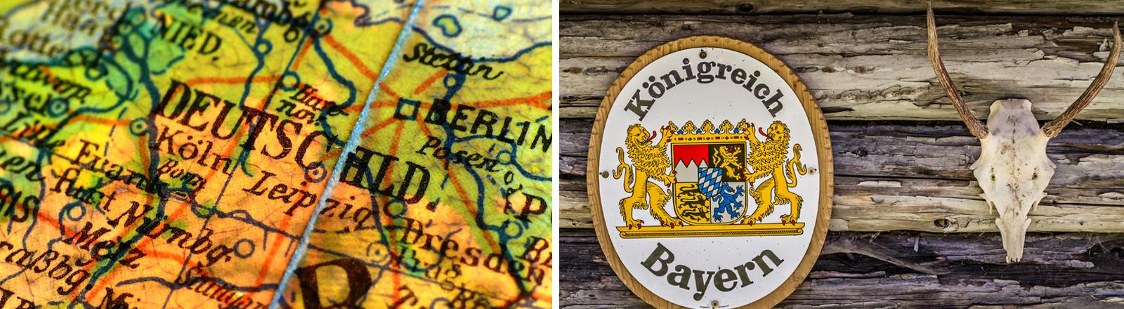 Collage aus einer Deutschlandkarte und einem Schild mit der Aufschrift Königreich Bayern