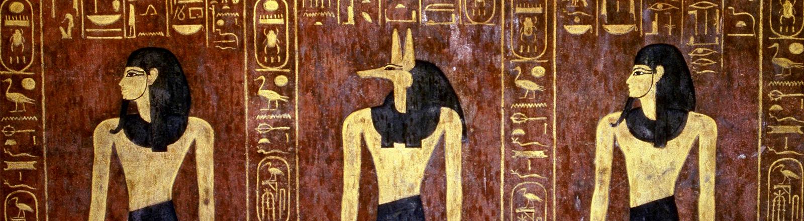 Ägyptische farbige Hieroglyphen