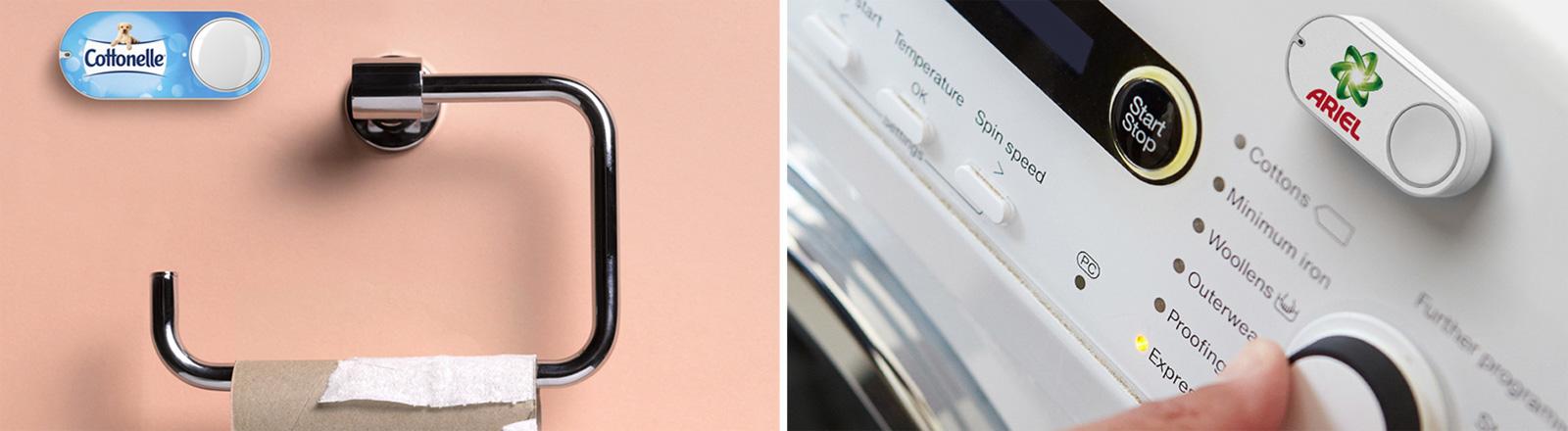 Dash Buttons von Amazon sind kleine Knöpfe. Jeweils einer hängt über einer leeren Klopapierrolle sowie auf einer Waschmaschine. Auf beiden ist jeweils das Logo eines Toilettenpapiers bzw eines Waschpulvers.
