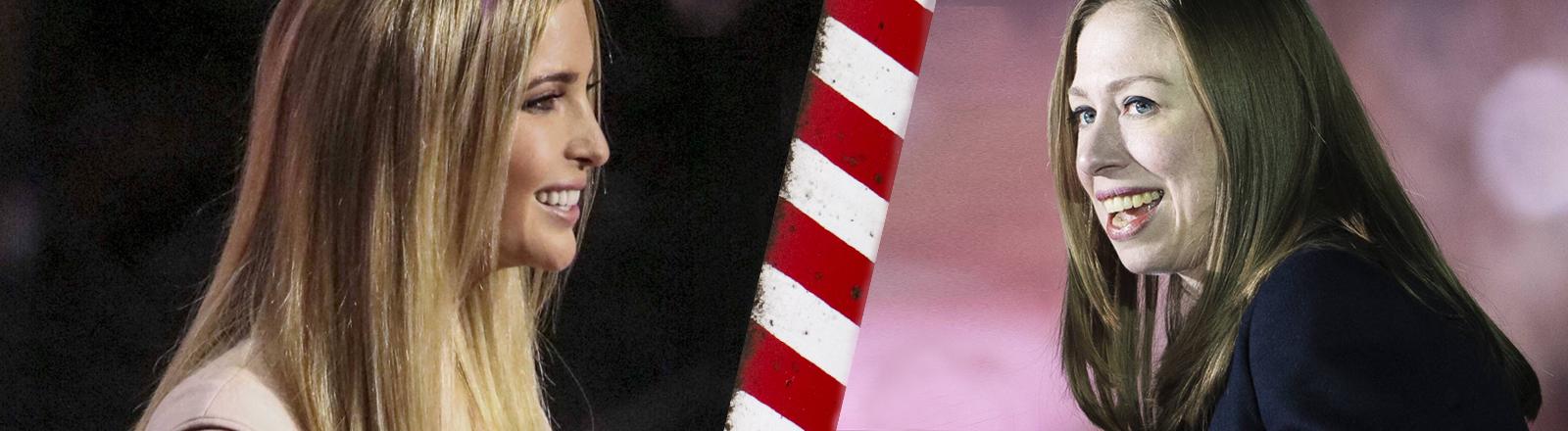 Chelsea Clinton und Ivanka Trump stehen sich gegenüber.