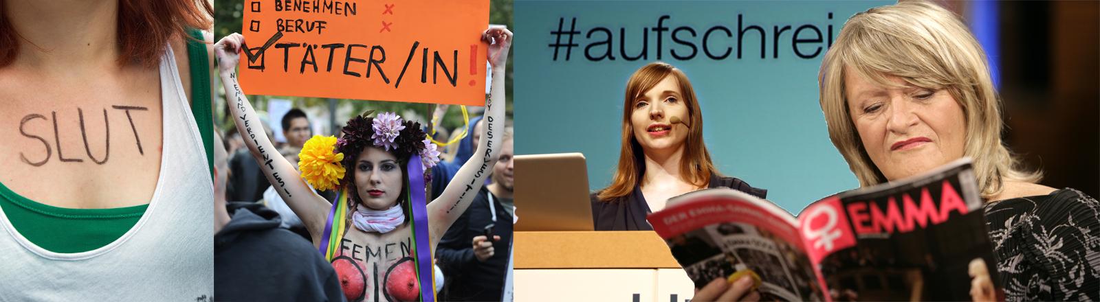 Collage aus Fotos von Alice Schwarzer, Anne Wizorek, einer Femen-Aktivistin und einer Teilnehmerin am Slutwalk