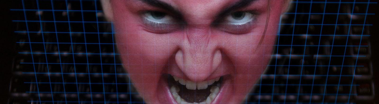 Hasserfülltes Gesicht
