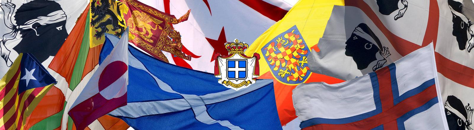 Flagge von Faröer, Grönland, Siebenbürgen, Schottland, Venetien, Seborga, Flandern, Nordzypern, Korsika, Sardinien, Baskenland, Katalonien