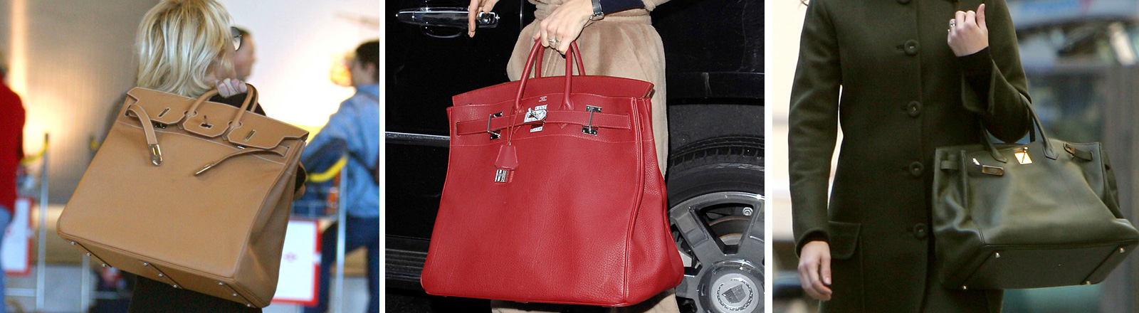 Pamela Anderson mit Birkin Bag. Katie Holmes mit Birkin Bag. Julia Roberts mit Birkin Bag.