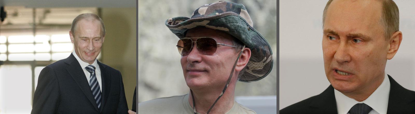 Verschiedene Bilder, die Wladimir Putin zeigen