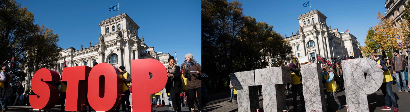 """Eine Demonstration, bei der die Schriftzüge """"Stop TTIP"""" vorweg getragen werden."""
