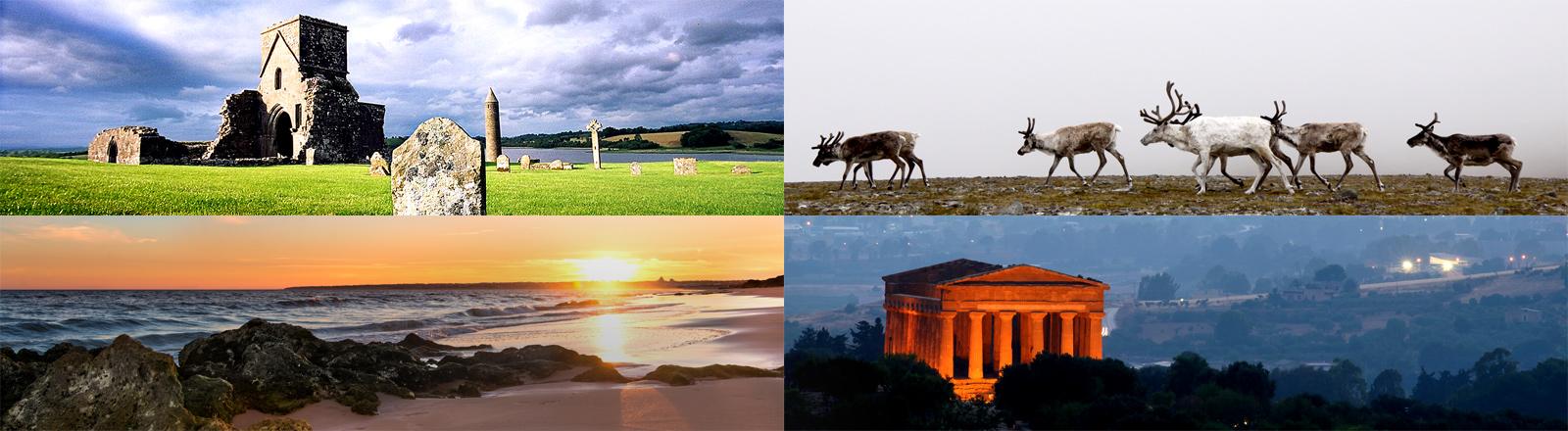 Collage von Bildern mit einem Haus auf Irland, Rentiere in Finnland, alter Tempel in Griechenland und Strand in Portugal.