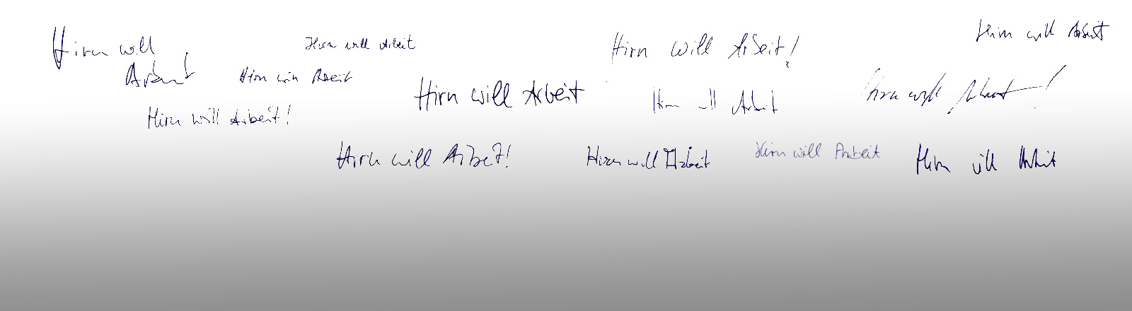 """Der Satz """"Hirn will Arbeit"""" in verschiedenen Ausgaben, geschrieben von DRadio-Wissen-Mitarbeitern."""
