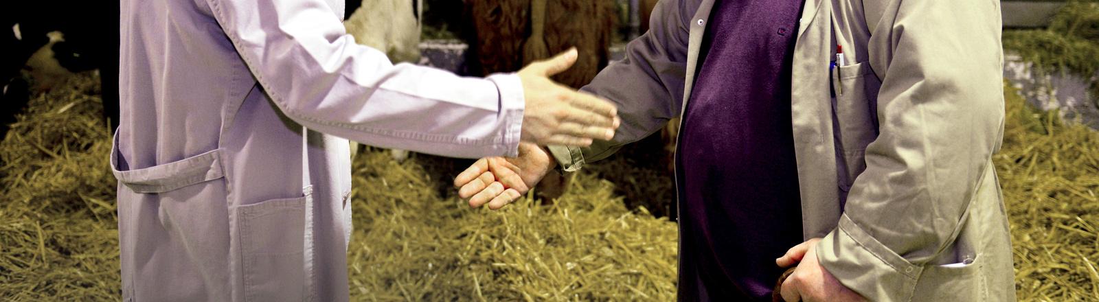 Zwei Männer im Kuhstall geben sich die Hand.