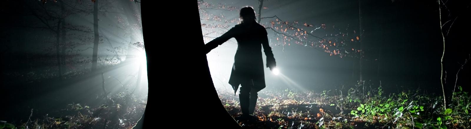 Eine Person neben einem Baum nachts im Wald.