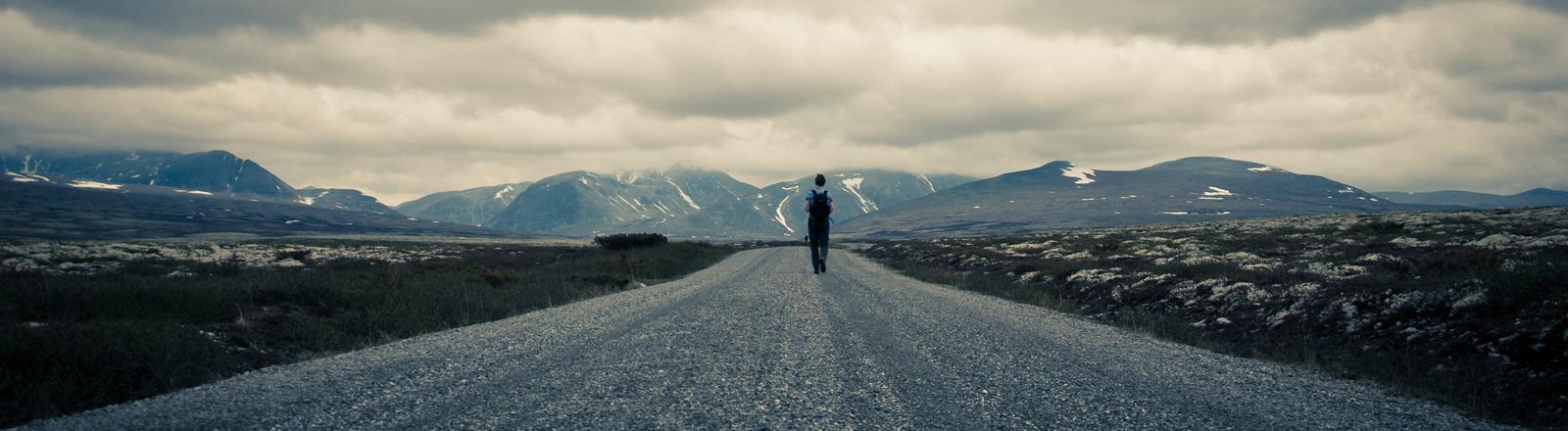 EIne Person auf einem scheinbar endlos langen Weg in Richtung Berge.