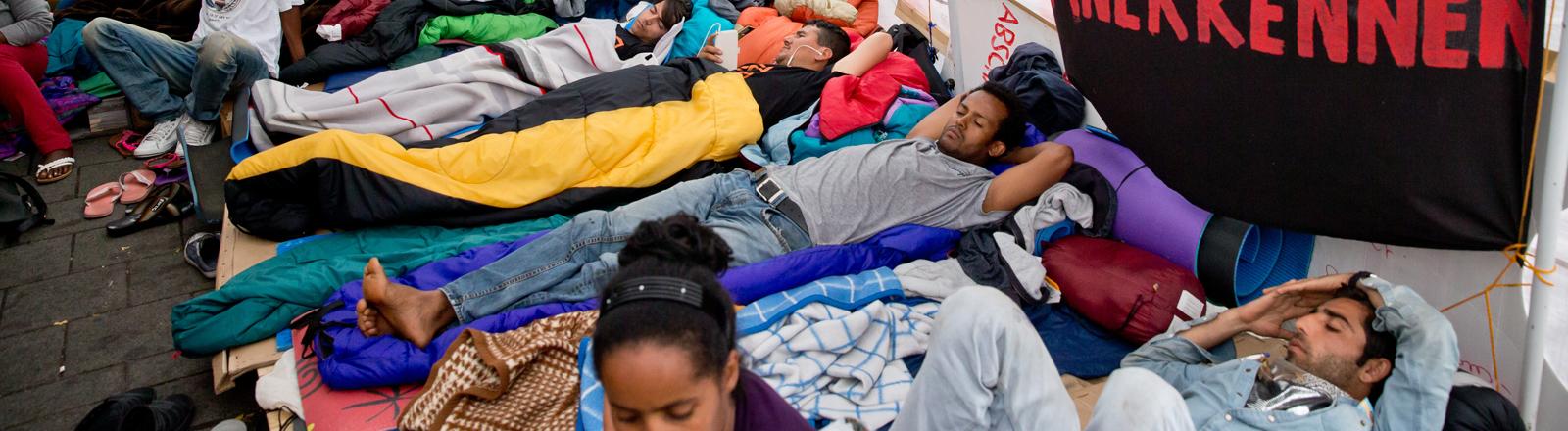 Flüchtlinge beim Hungerstreik in Nürnberg.