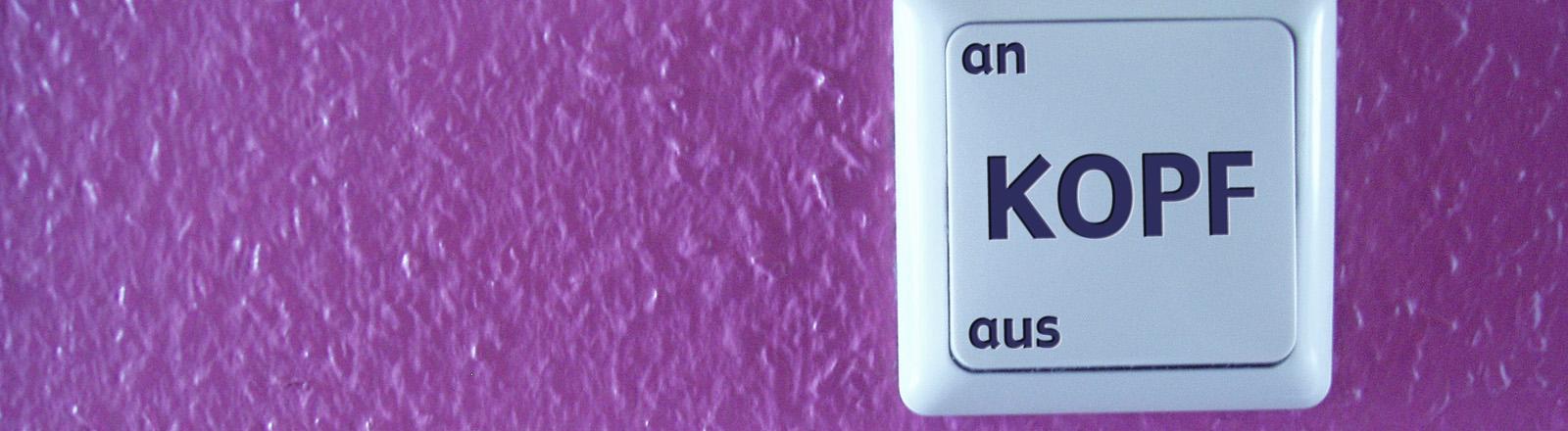 Schalter, auf dem steht: Kopf, an, aus.