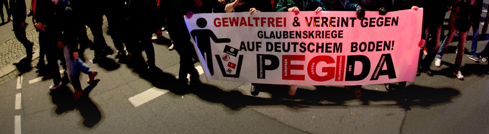 Pegida-Demonstration in Dresden. Demonstranten halt ein Plakat hoch.