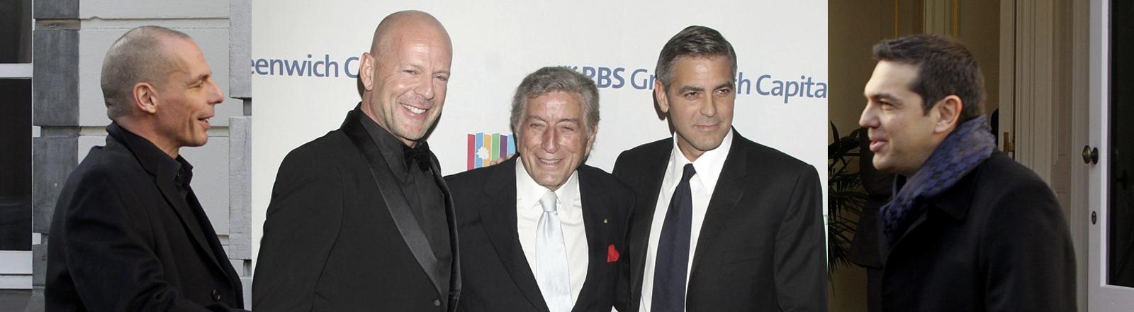 Yanis Varoufakis und Alexis Tsipras | Bruce Willis und George Clooney