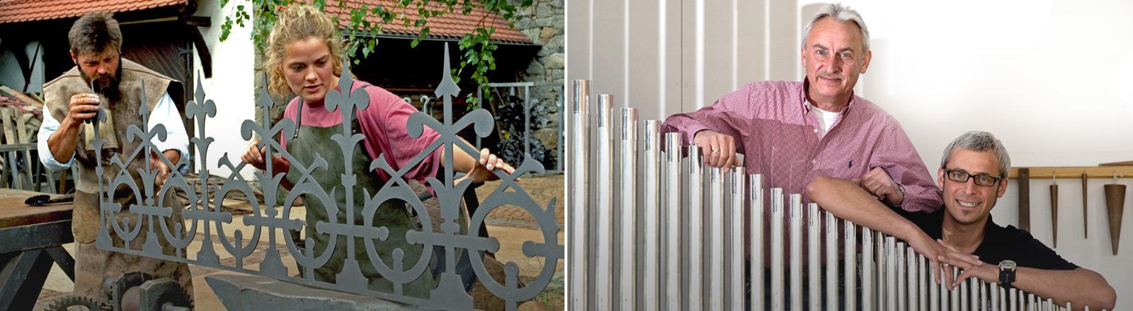 Ein Schmied mit Tochter bei der Arbeit an einem Metallgitter. Orgelbauer mit seinem Sohn lehne auf Orgelpfeifen.