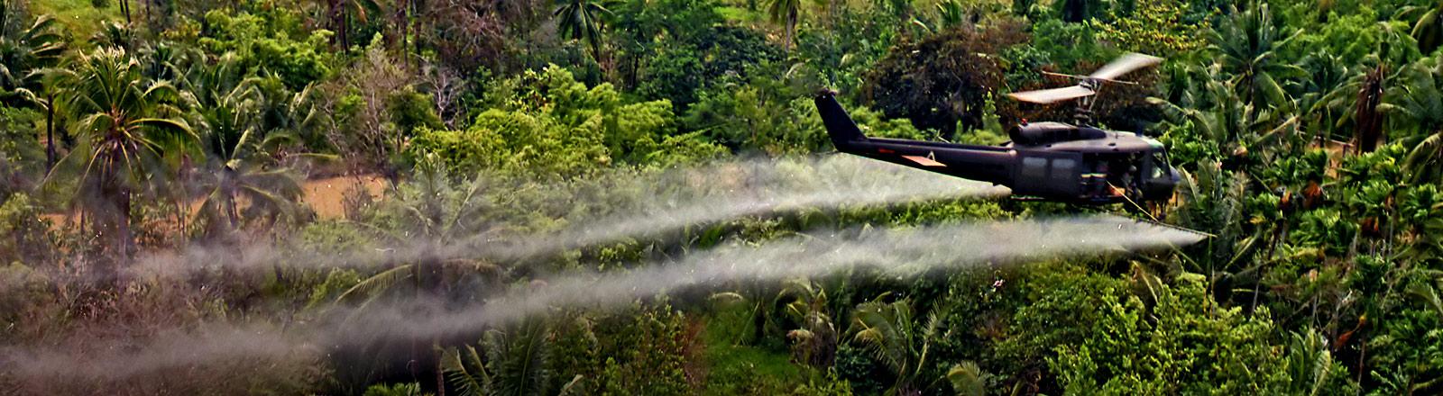Ein Hubschrauber versprüht im Vietnamkrieg das Entlaubungsmittel Agent Orange.