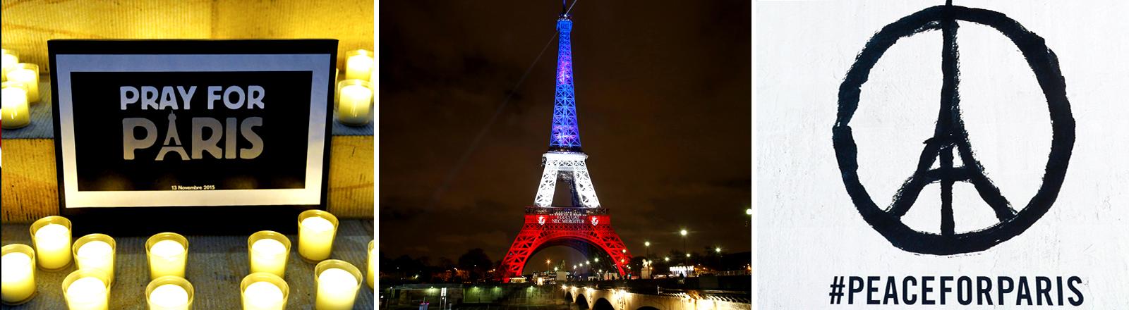 """Collage: links ein Schild mit """"Pray for Paris"""", in der Mitte der in den französischen Nationalfarben angestrahlte Eiffelturm und rechts ein Peacezeichen mit Eiffelturm und der Aufschrift #peaceforparis"""