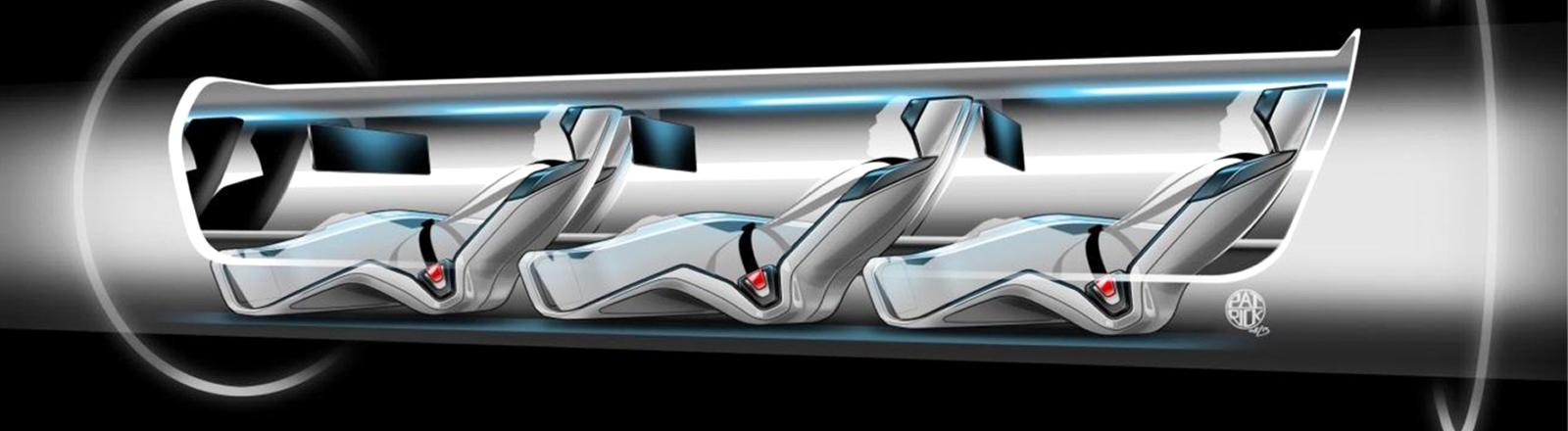 Animation einer Hyperloop-Kapsel