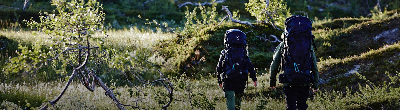 Zwei Wanderer mit Trekking-Rucksäcken