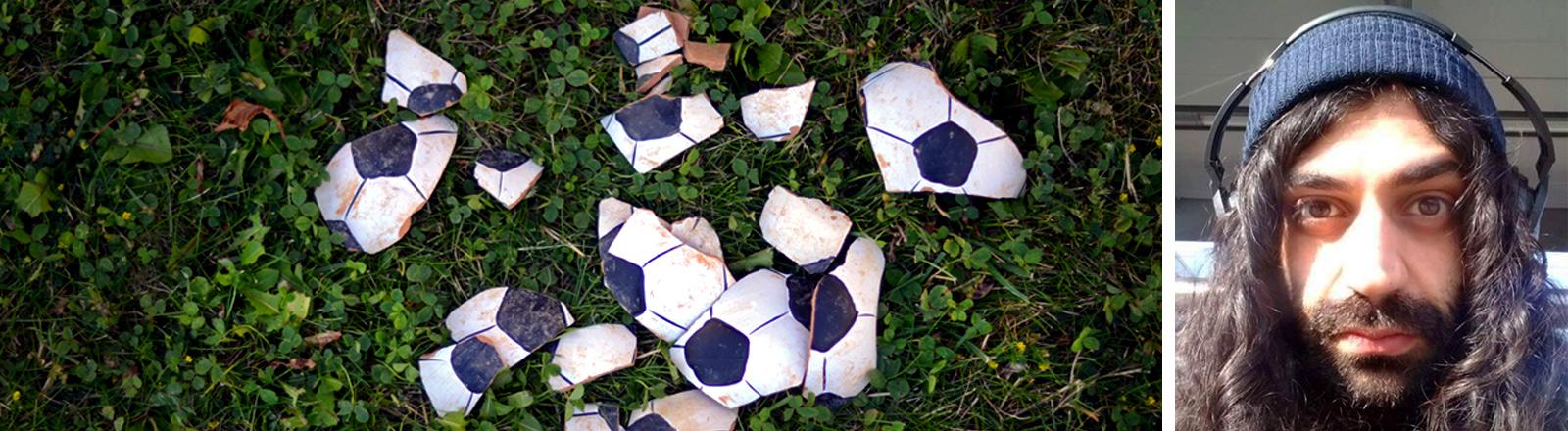Scherben, in Fußballfarben, Porträt eines jungen Mannes