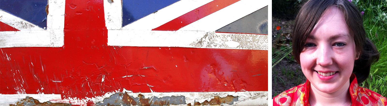 links eine etwas heruntergekommene Greatbritain-Fahne, rechts die Britin Lucy Scanton