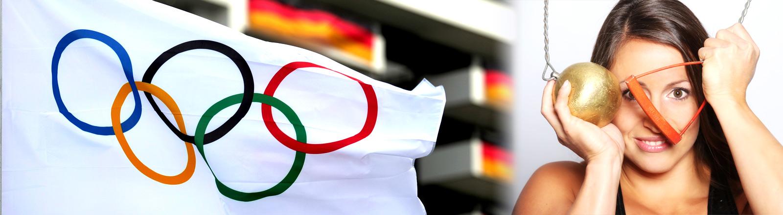 Bildcollage: Hammerwerferin Kathrin Klaas und die Olympische Flagge vor dem olympischen Dorf in Rio.