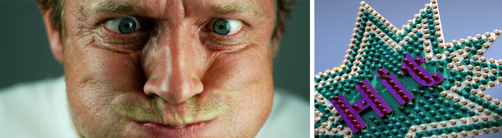 """Collage: """"Hit""""-Werbeschild, Mann zieht Grimasse"""