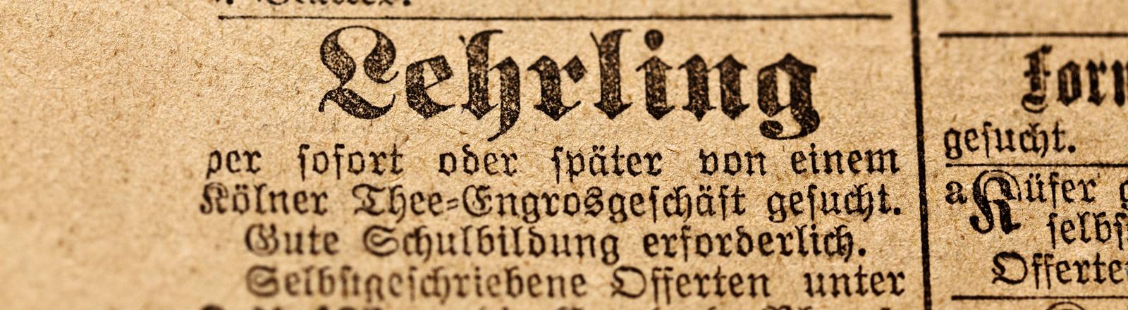 Stellenanzeige in altdeutscher Schrift