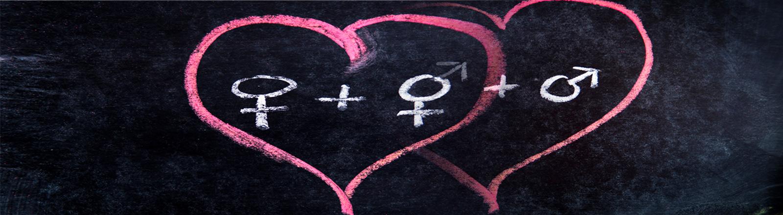 In einander gleitende Herzchen mit Geschlechtersymbolen